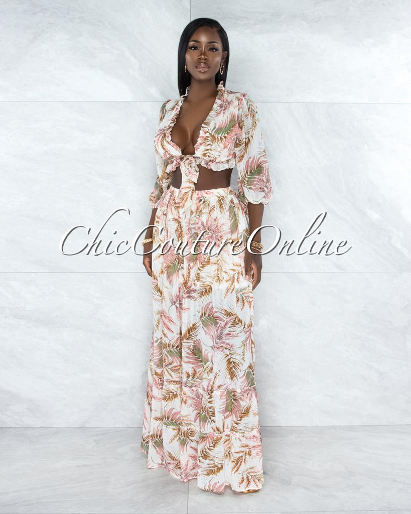 Sadella Ivory Salmon Leaf Print Ruffled Top & Maxi Skirt Set