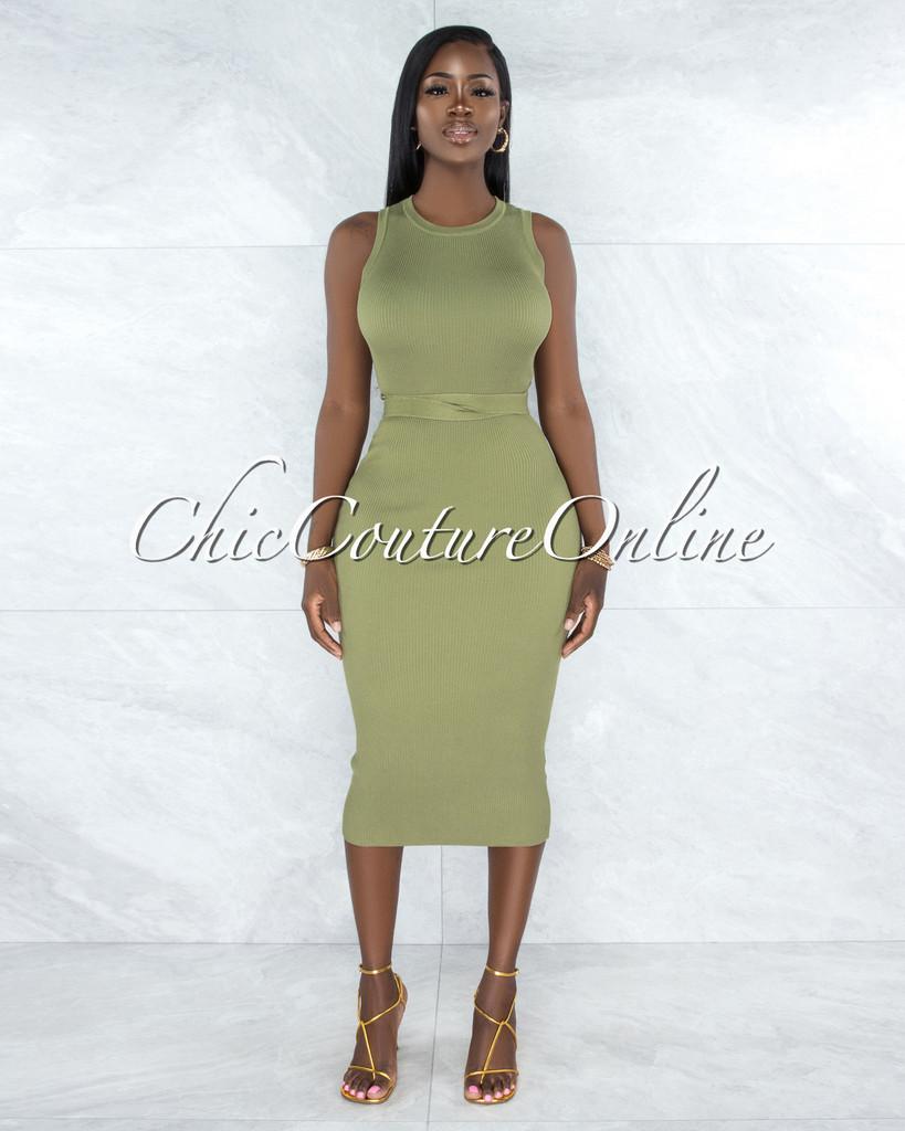 Cluny Olive Green Ribbed Midi Dress
