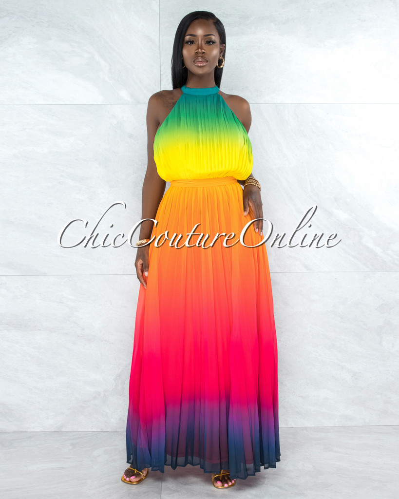 Fosler Rainbow Ombre Halter Maxi Pleated Dress