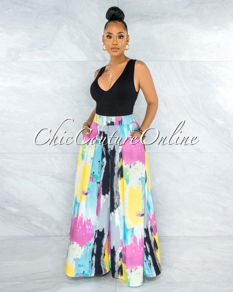 Dionne Multi-Color Artistic Print Pleated Wide Pants