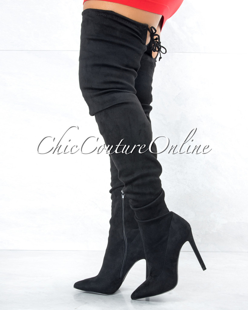 Tillie Black Faux Suede Over-The-Knee Boots