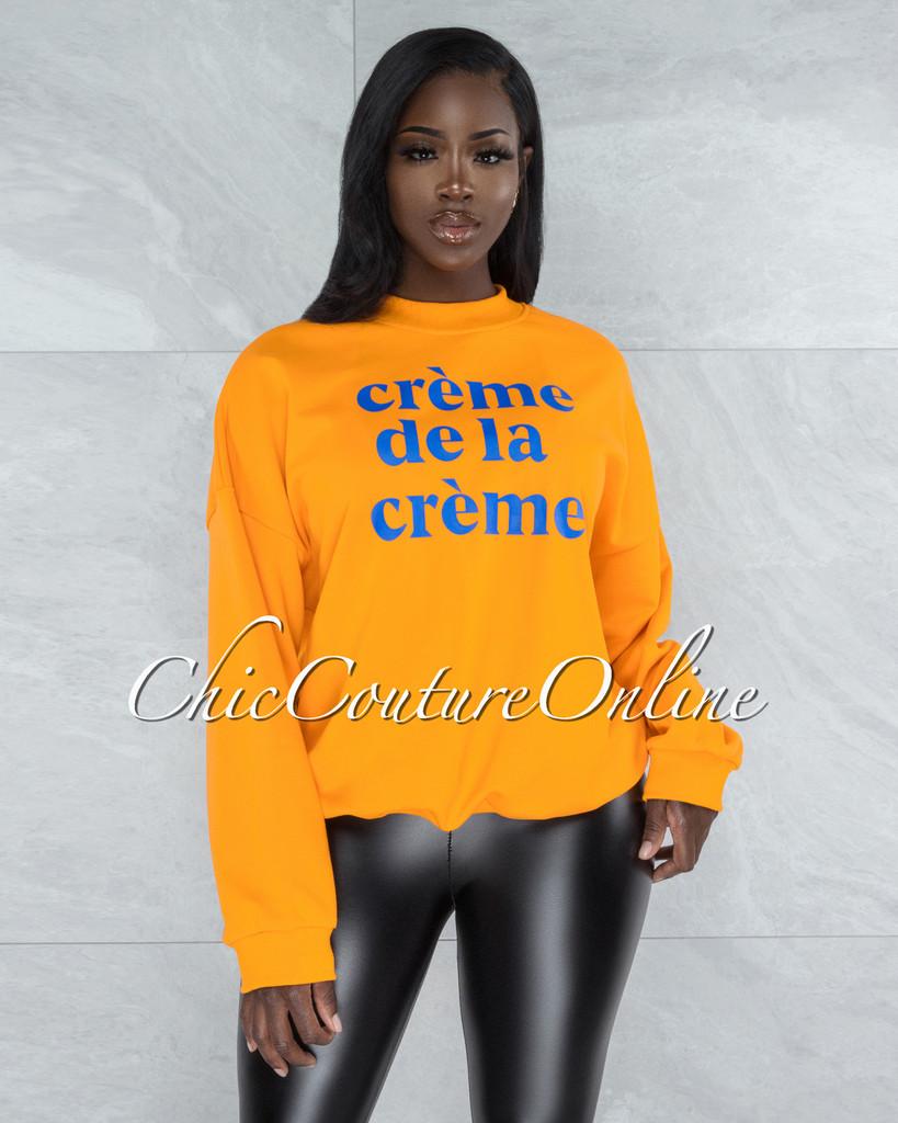 """Nadetta Tangerine Blue Graphic """"Creme de la Creme"""" Sweater"""