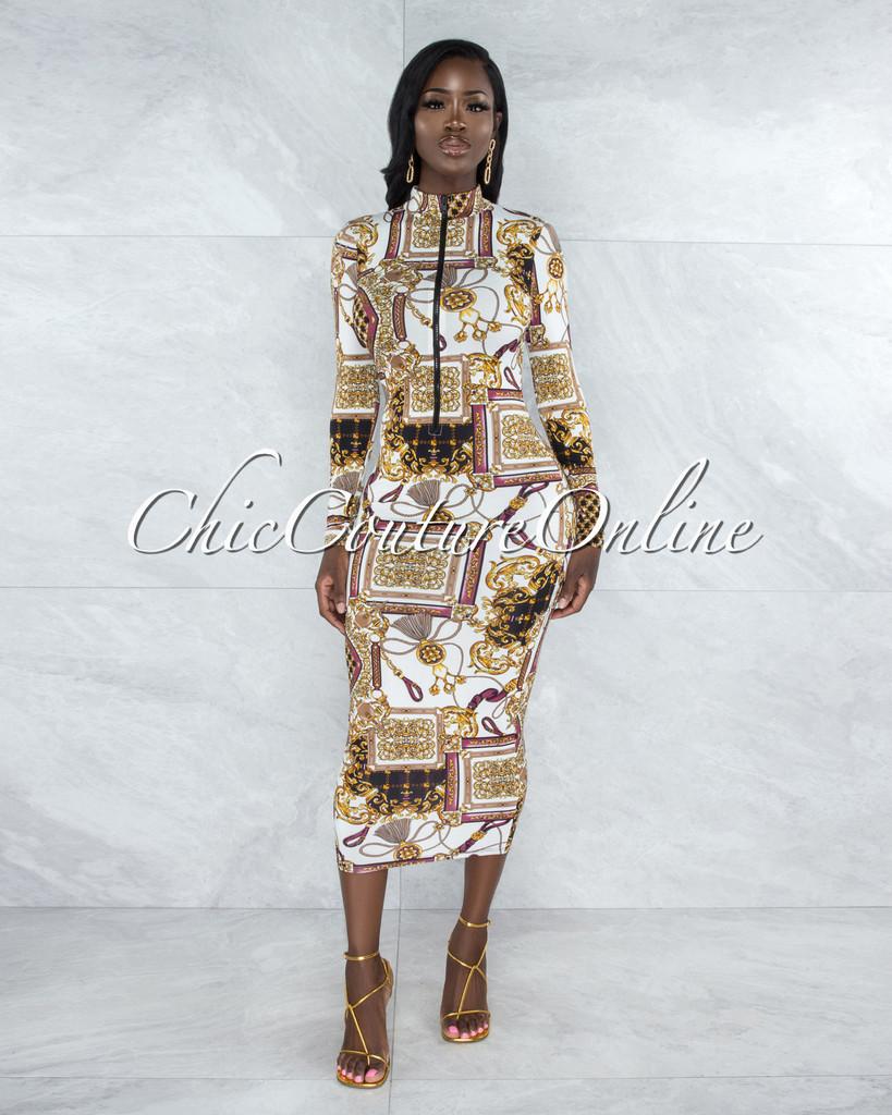 Nasser Ivory Black Gold Print Front Zipper Midi Dress