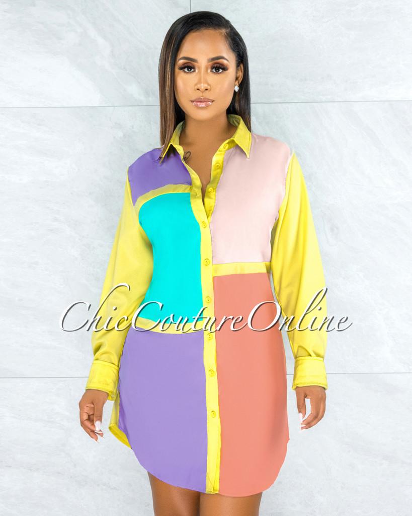 Olidie Bright Tones Retro Block Color Shirt Dress