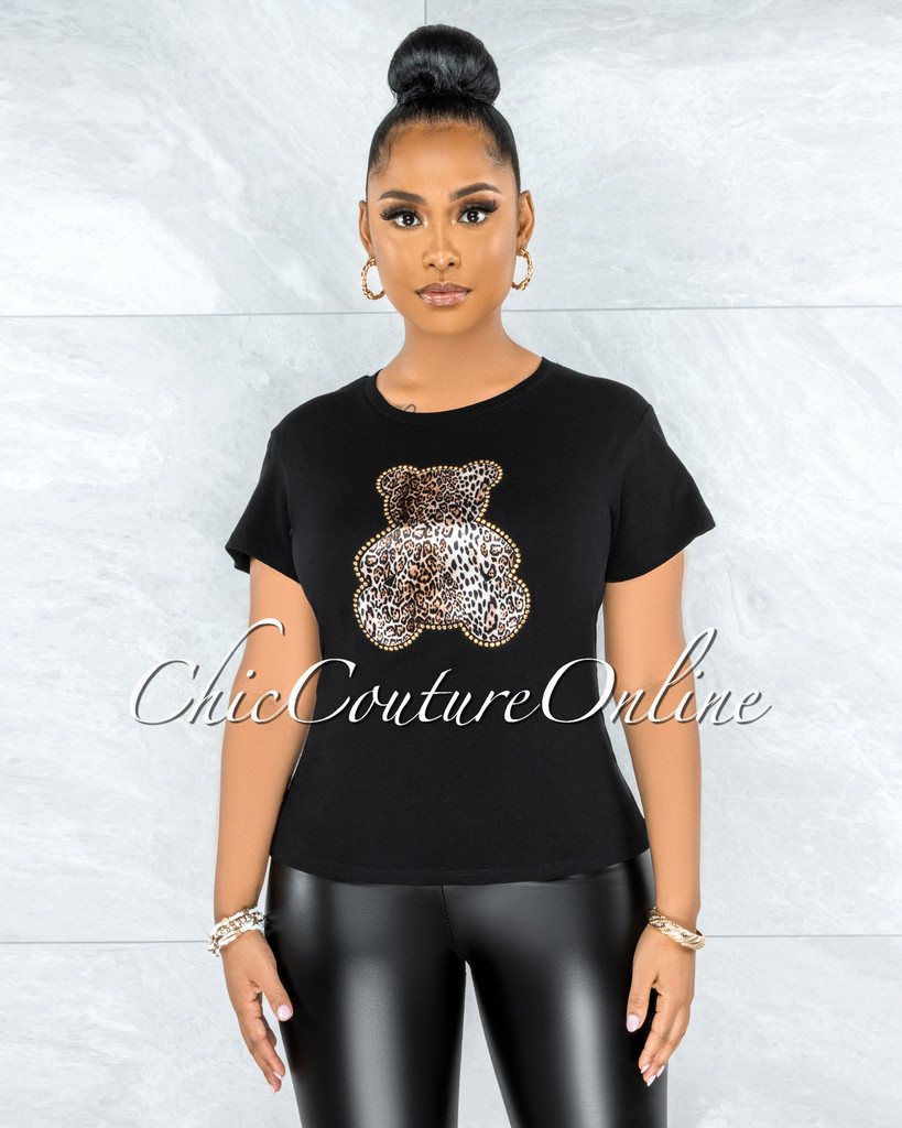 Vacuna Black Leopard Gold Studs Bear Graphic T-Shirt