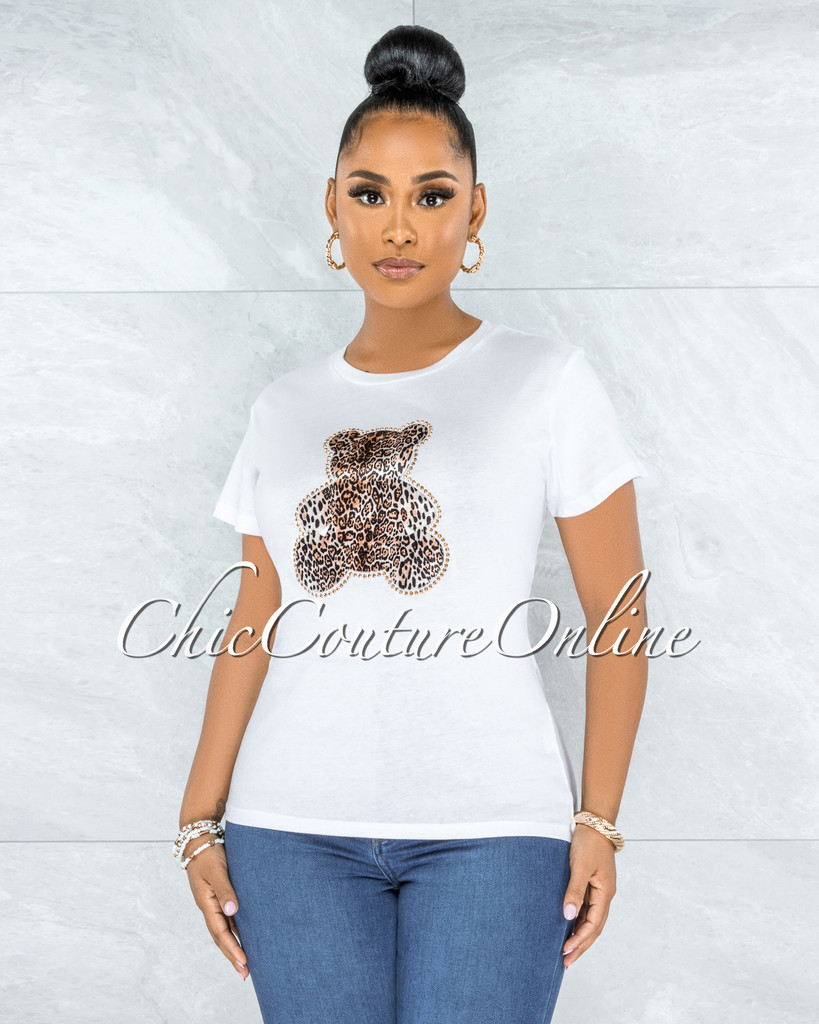 Vacuna White Leopard Gold Studs Bear Graphic T-Shirt