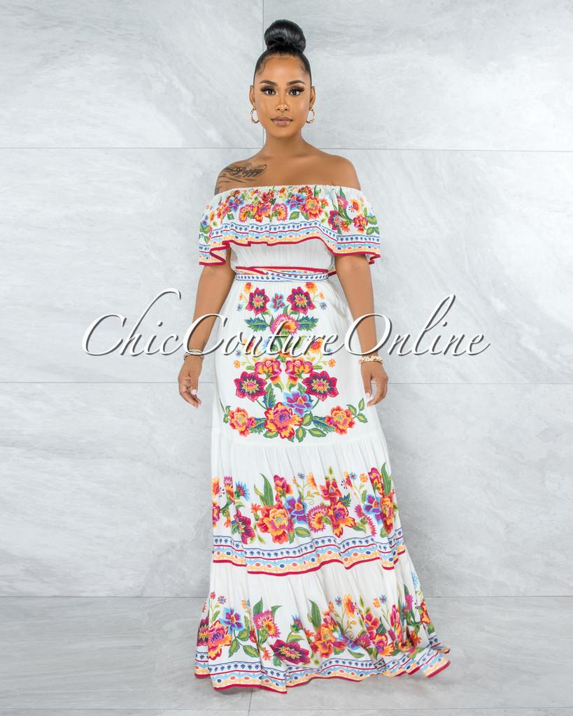 Alizeh Cream Floral Print Ruffled Top Maxi Dress