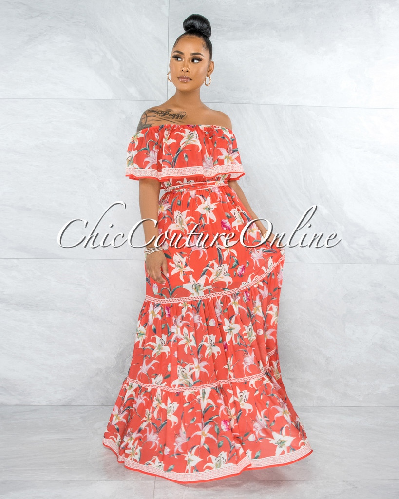 Marilla Neon Coral Floral Print Ruffled Top Maxi Dress