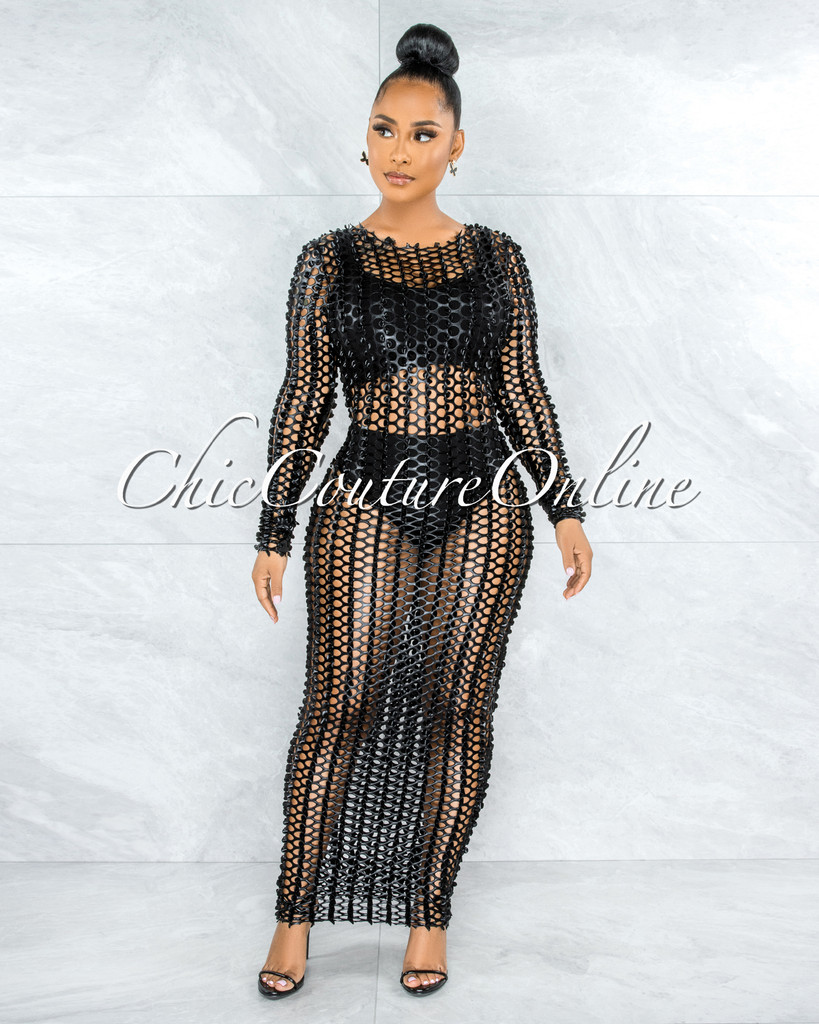 Ruford Black Metallic Perforated See-Thru Maxi Dress