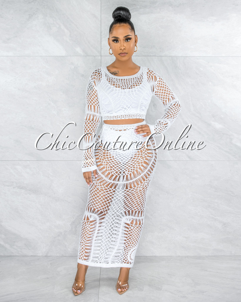 Chandler White Crochet See-Through Cover-Up Two Piece Set
