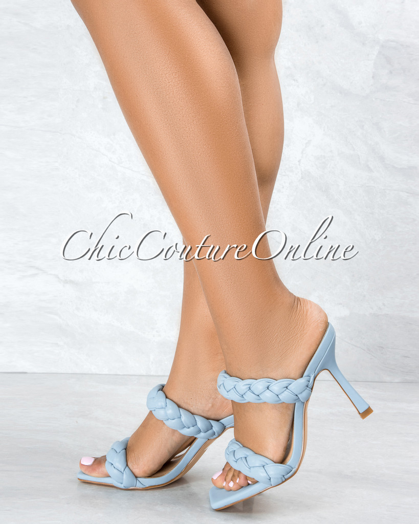 Jessy Baby Blue Double Braided Upper Square Toe Heels