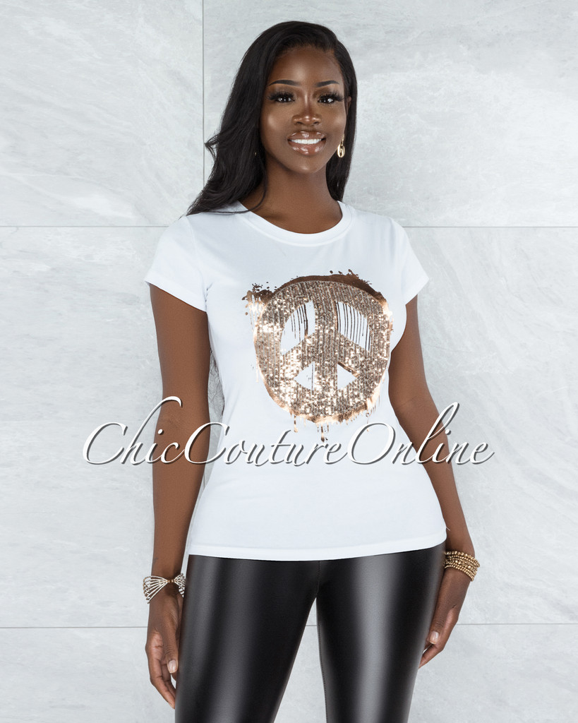 Ananda White Rose Gold Sequins Peace Sign T-Shirt