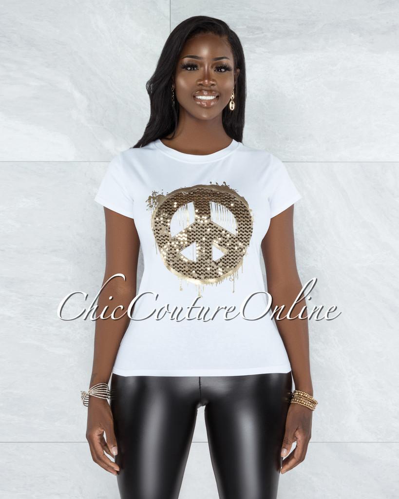 Zasha White Gold Sequins Peace Sign T-Shirt