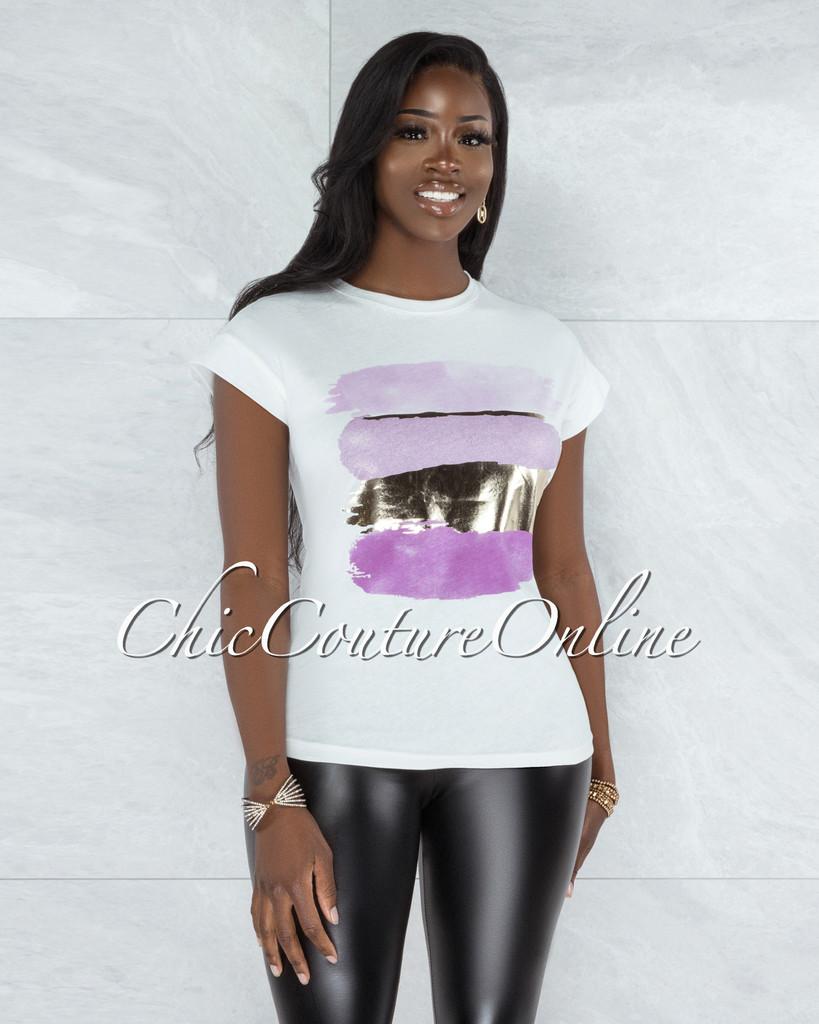 Bian White Gold Lilac Graphic T-Shirt