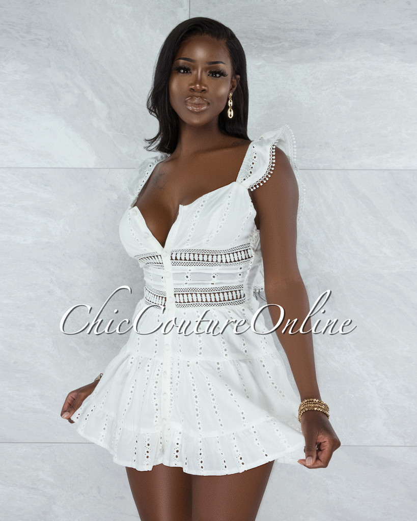 Knight Off-White Crochet Buttoned Ruffle Dress