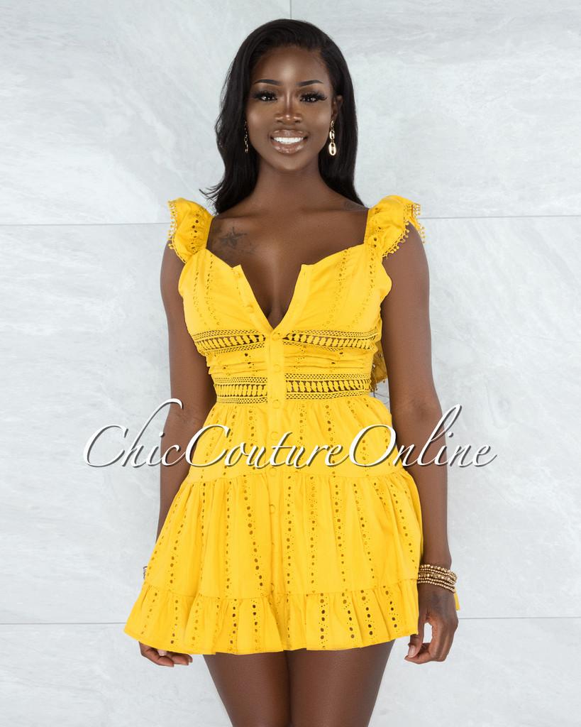 Knight Mustard Crochet Buttoned Ruffle Dress