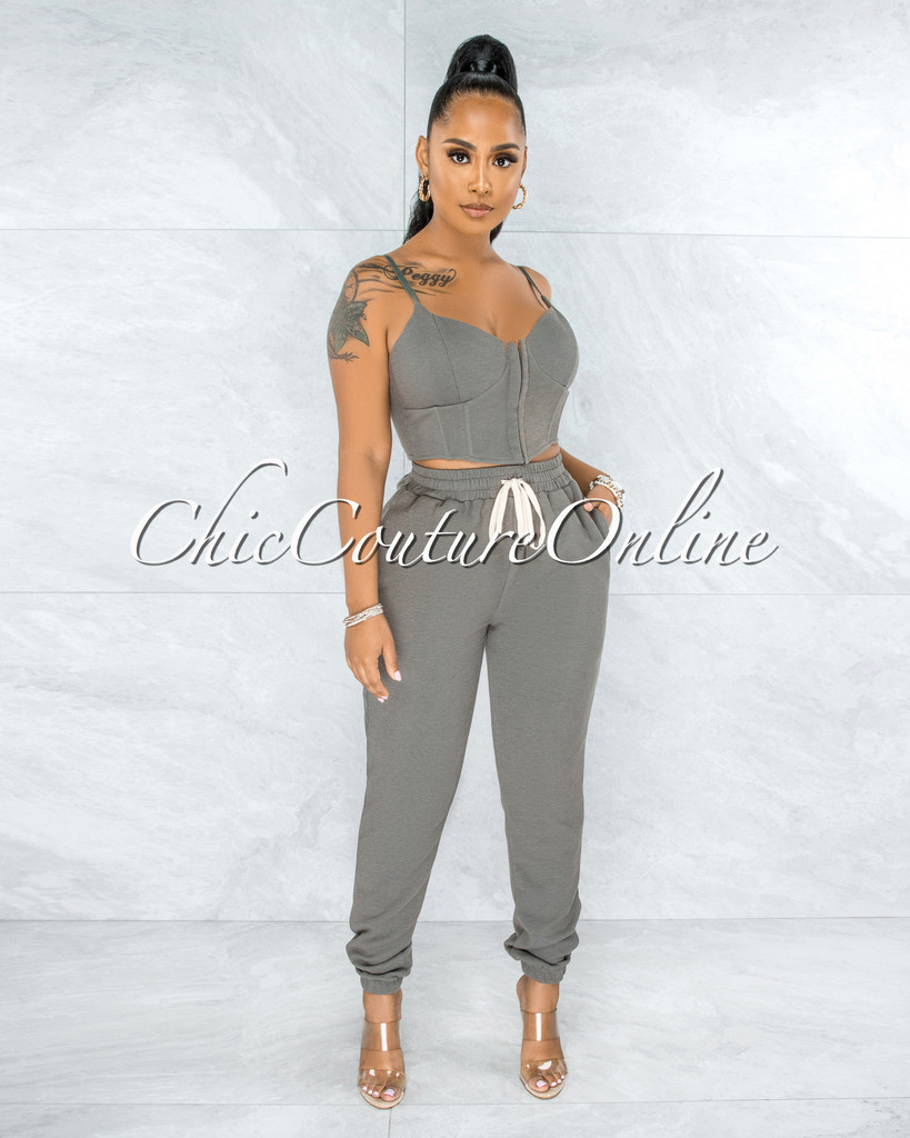 Ikea Olive Green Corset Style Top & Joggers Set