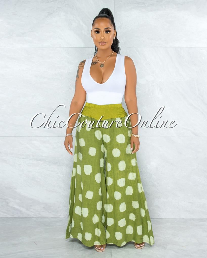 Albina Olive Green Polka Dots Wide Legs LINEN Pants