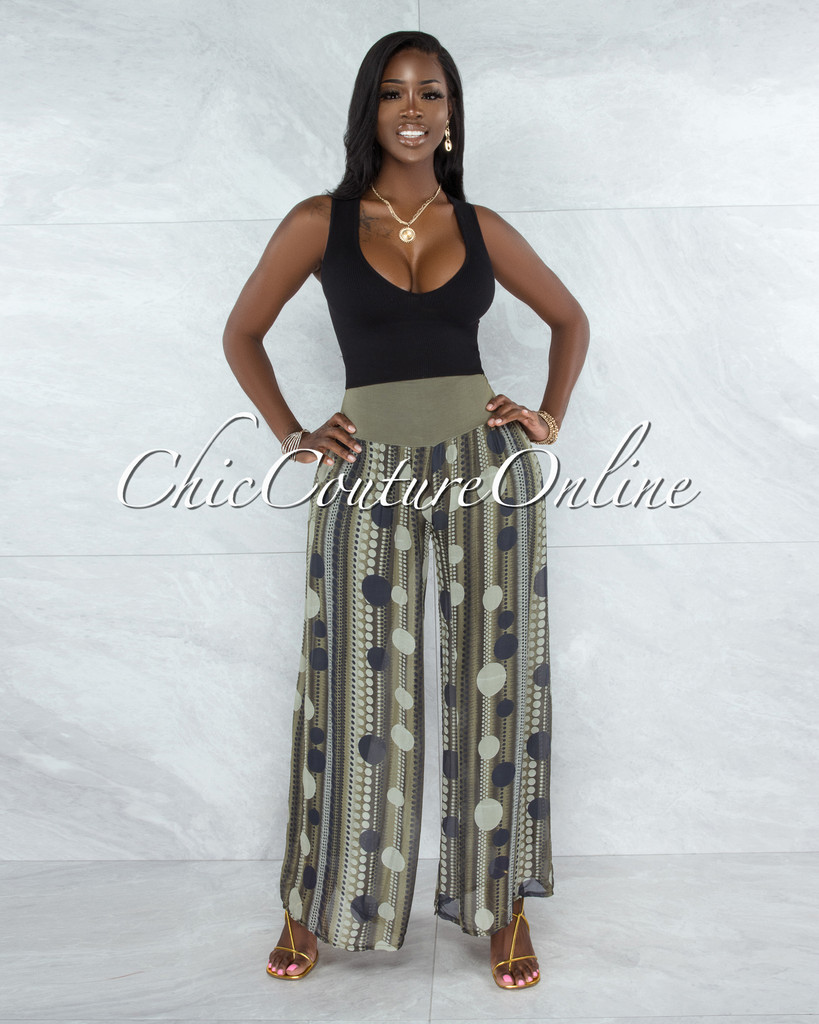 Chanan Olive Polka Dots Wide Legs Waistband Pants