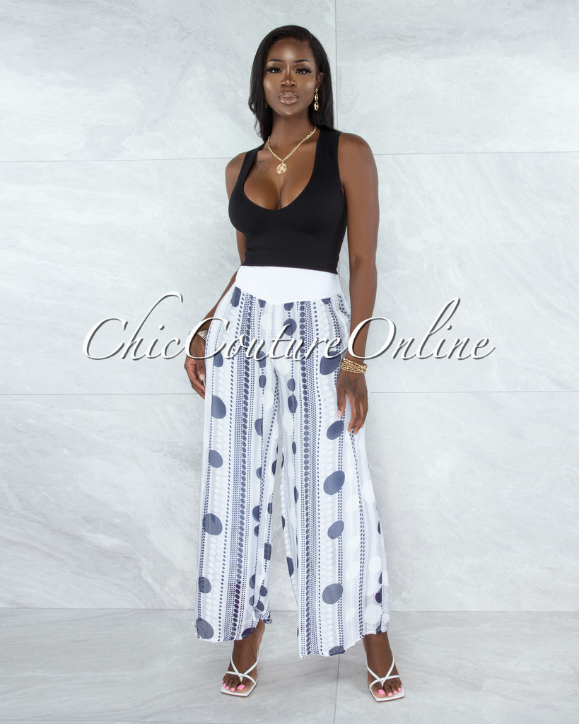 Chanan Off-White Grey Polka Dots Wide Legs Waistband Pants