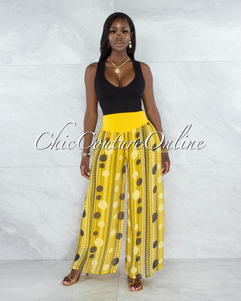 Chanan Yellow Polka Dots Wide Legs Waistband Pants