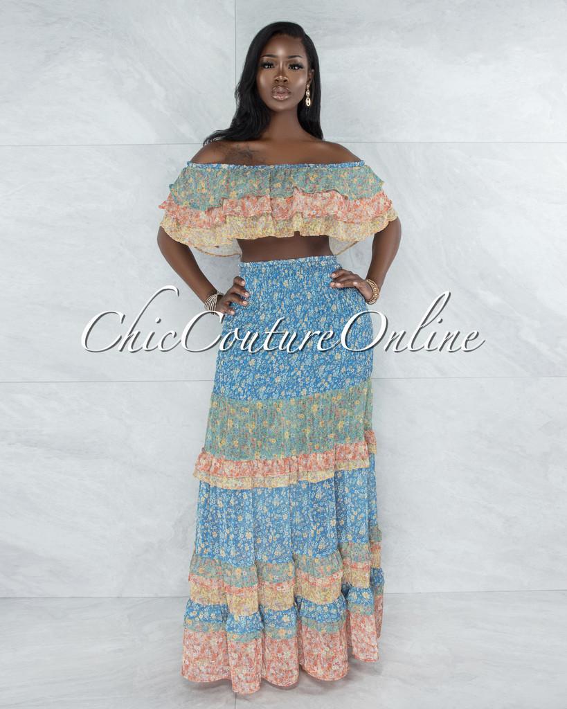 Hanisi Multi-Color Boho Floral Print Two Piece Skirt Set