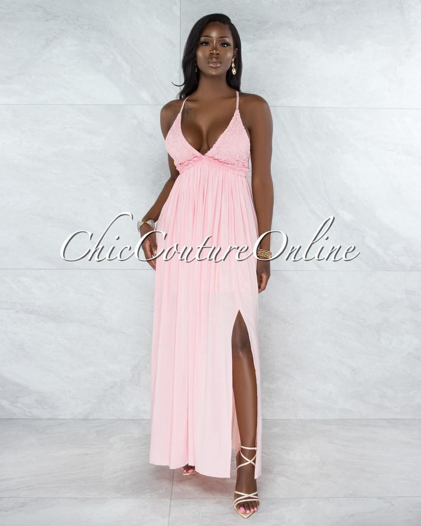 Kerem Baby Pink Crochet Top Open Back Maxi Dress
