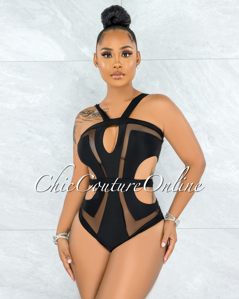 Nevada Black Mesh Accent Cut-Out Swimsuit