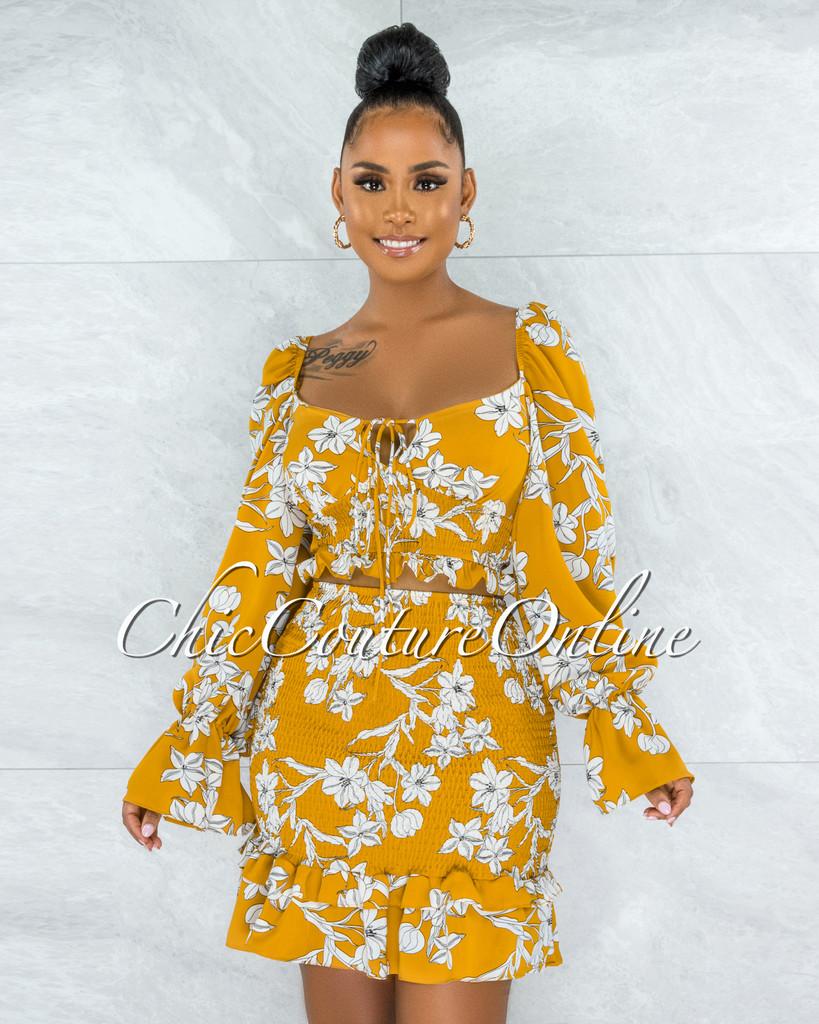 Grisell Mustard White Floral Print Smocked Flutter Skirt Set