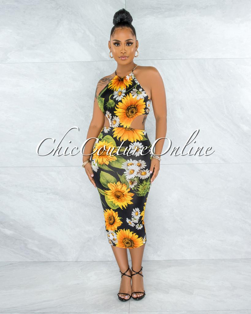 Lievana Black Sunflower Print Cut-Out Midi Dress