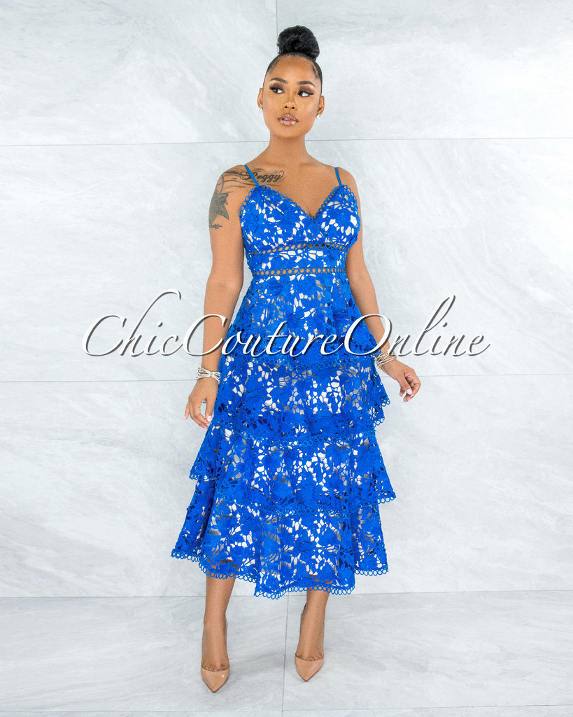 Evangelina Royal Blue Nude Illusion Crochet Ruffle Hem Dress