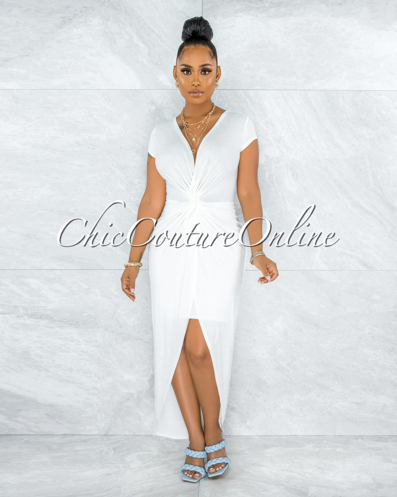 Fergie Off-White Knotted Front Maxi Dress