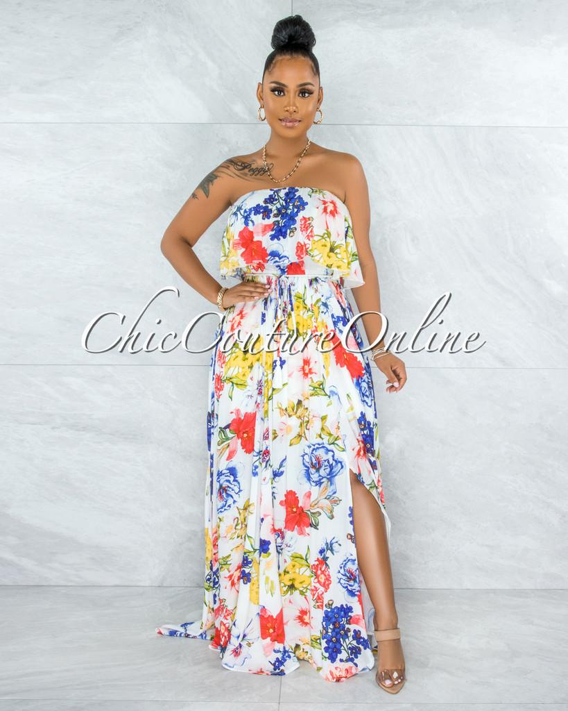 Cramer White Multi-Color Floral Print Ruffled Top Maxi Dress