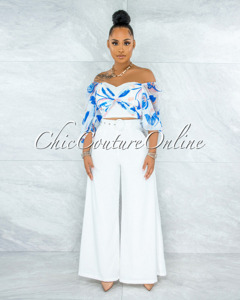 Legend Off-White Blue Print Top Belted Pants Set