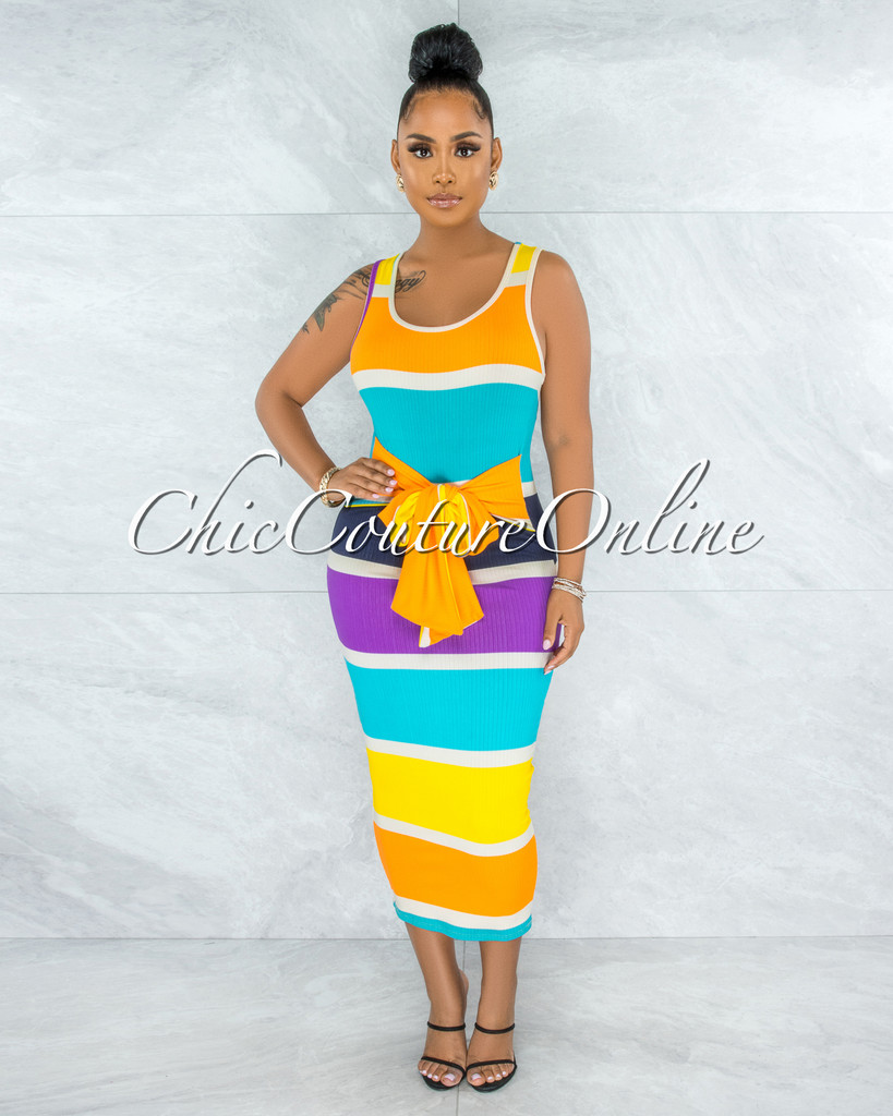 Lafay Orange Turquoise Stripes Ribbed Front Tie Midi Dress