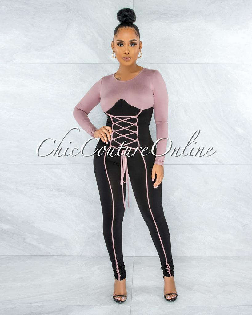 Gilam Mauve Black Two-Tones Lace-Up Jumpsuit