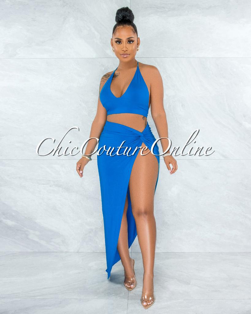 Dayton Turquoise Slit Maxi Skirt Cover-Up Set