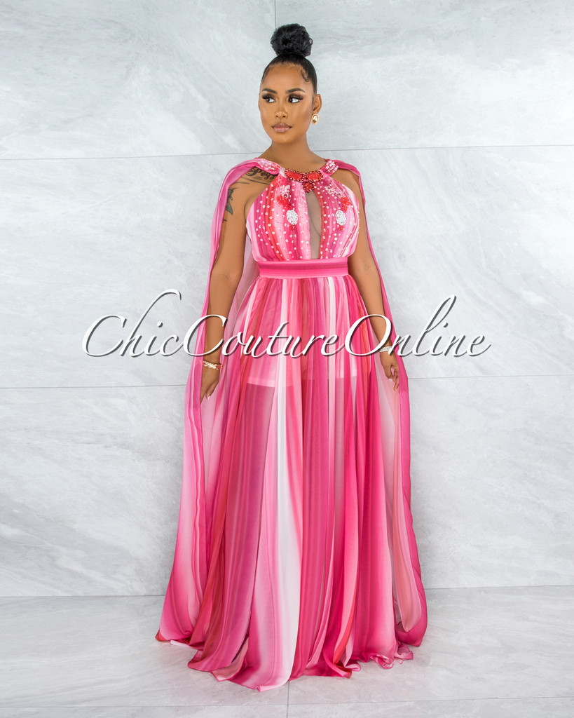 Wandella Fuchsia Stripes Sequins Halter Maxi Dress