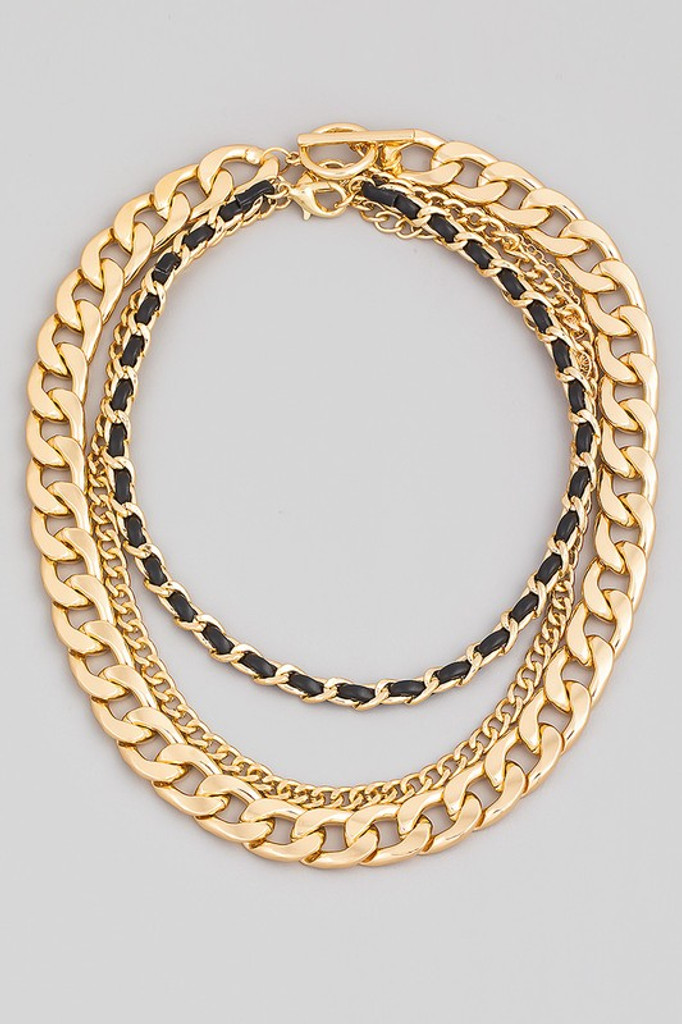 Rory Gold Layered Bulky Toggle Chain Link Necklace