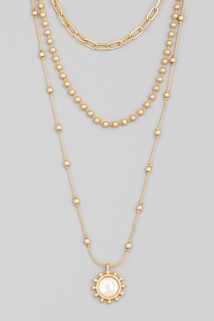 Lorelai Gold Layered Pearl Sun Pendant Necklace