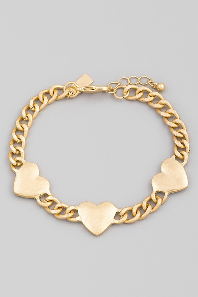 Orlane Gold Heart Chain Link Lobster Clasp Bracelet