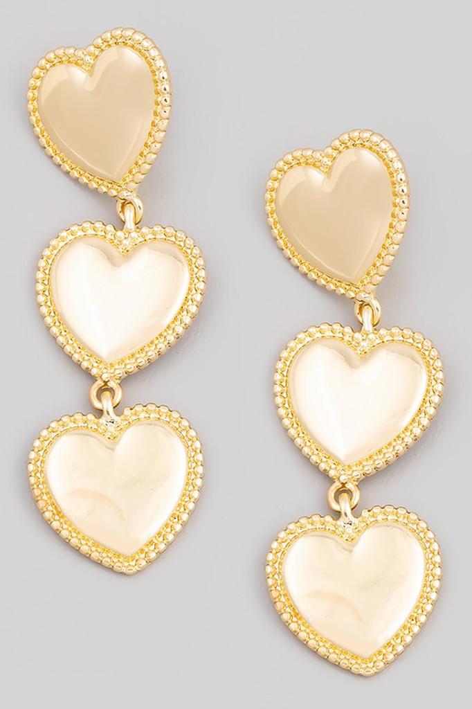 Dean Gold Metallic Heart Link Dangle Earrings