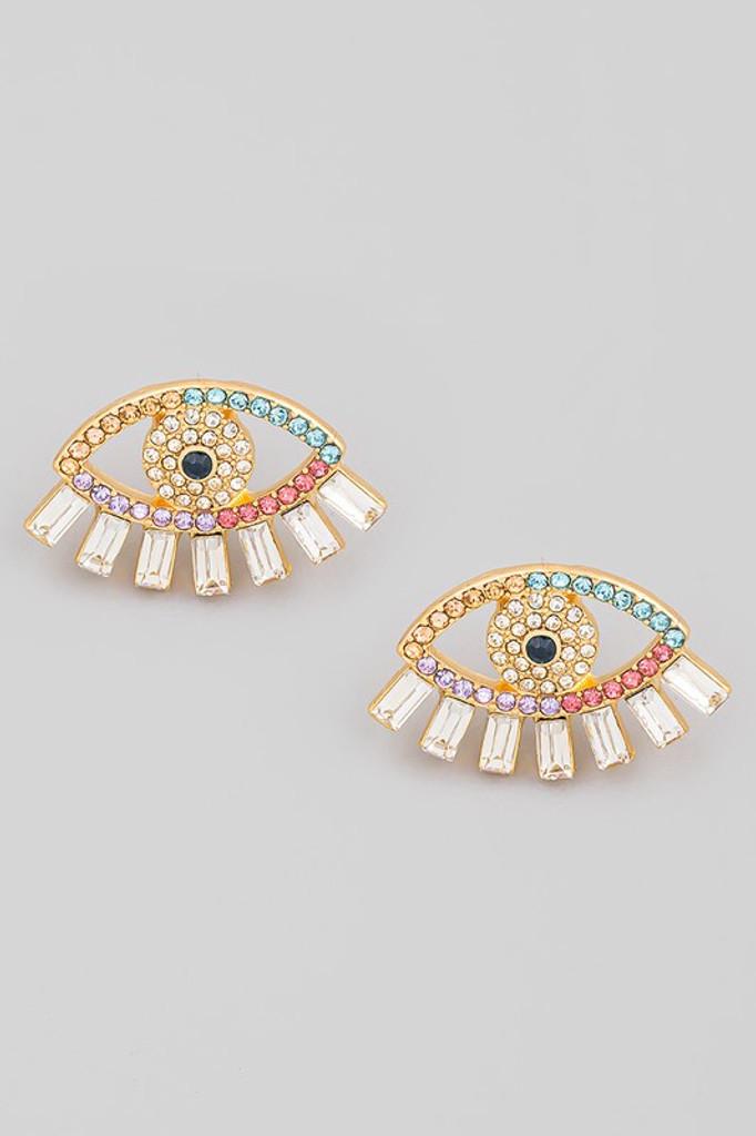 Stefani Gold Evil Eye Stud Earrings