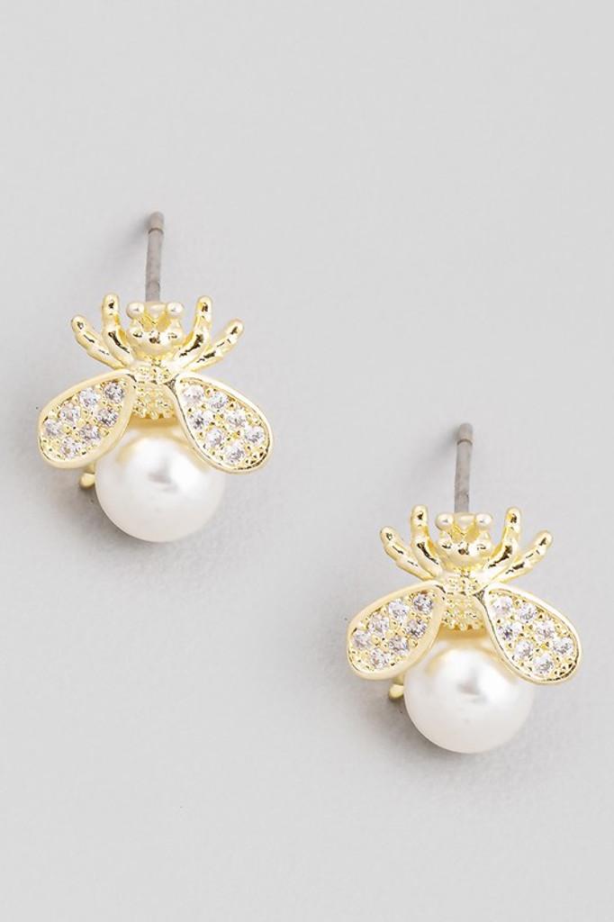 Paris Gold Bee Pearl Post Stud Earrings