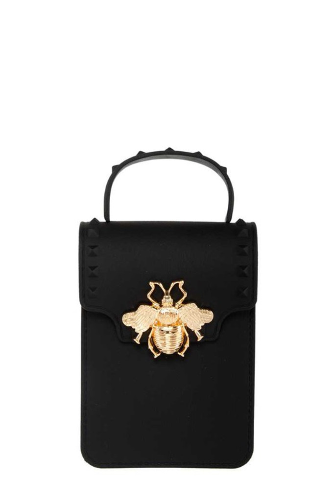 Stephany Black Gold Bee Decorated Rectangular Jelly Bag