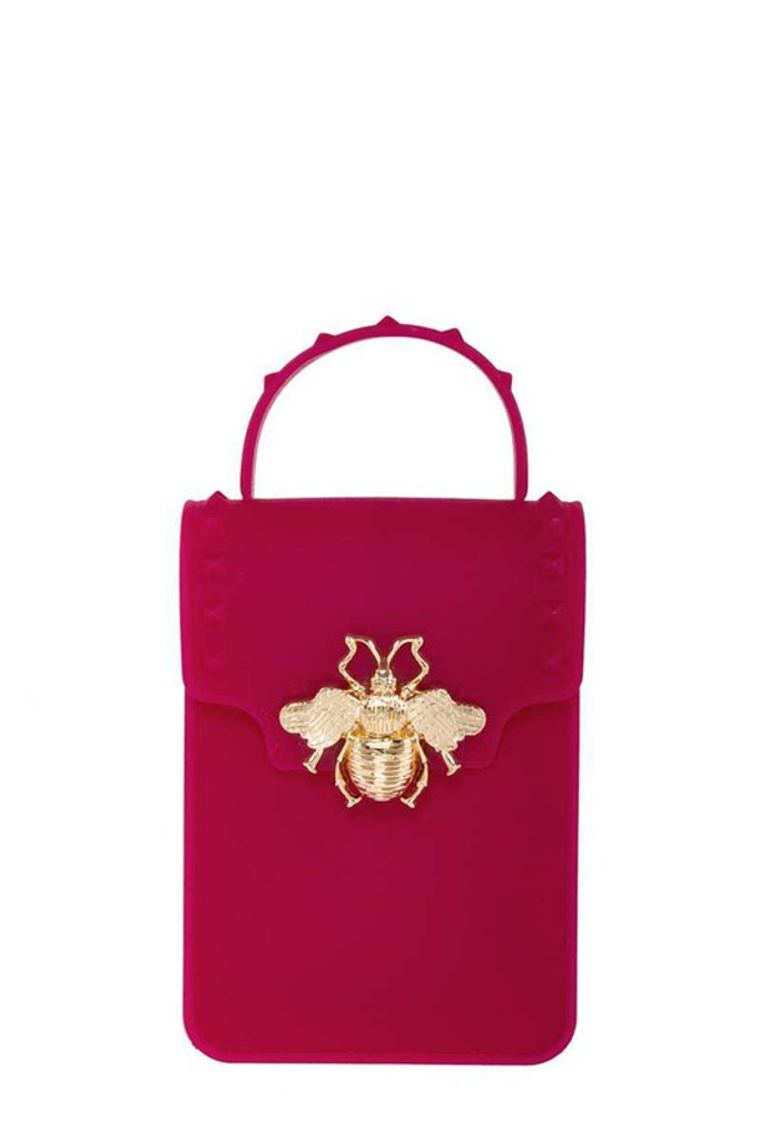 Stephany Magenta Gold Bee Decorated Rectangular Jelly Bag