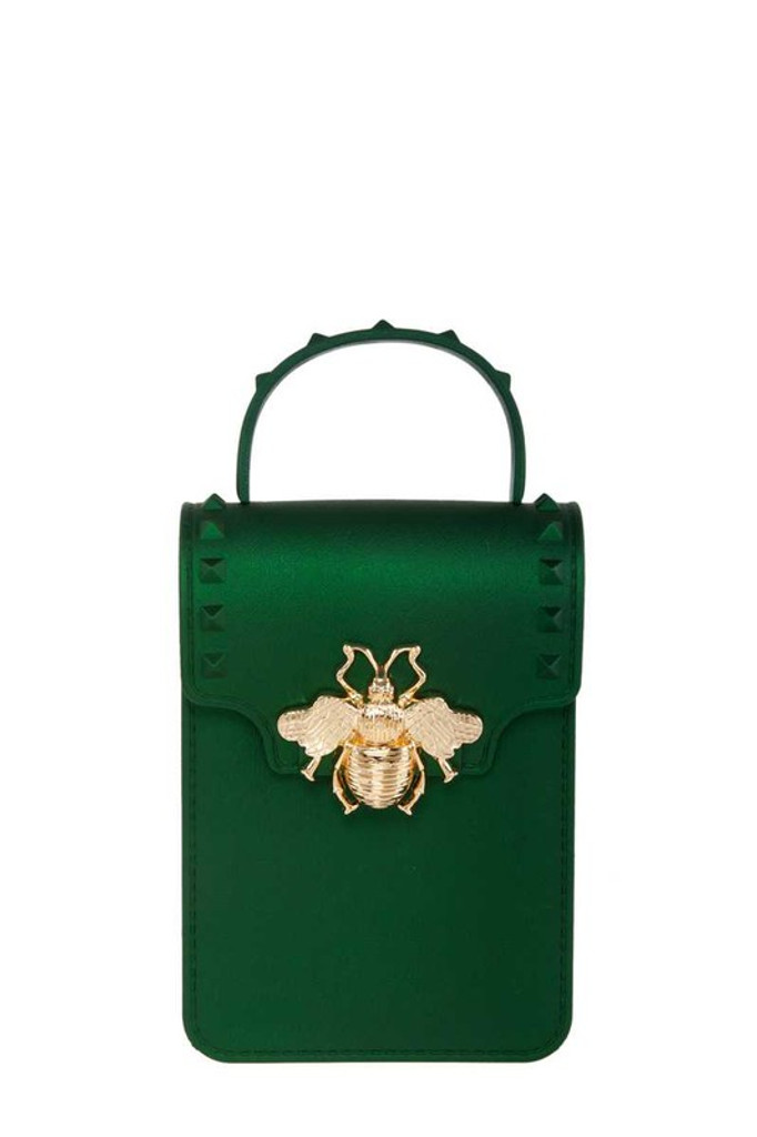 Stephany Green Gold Bee Decorated Rectangular Jelly Bag