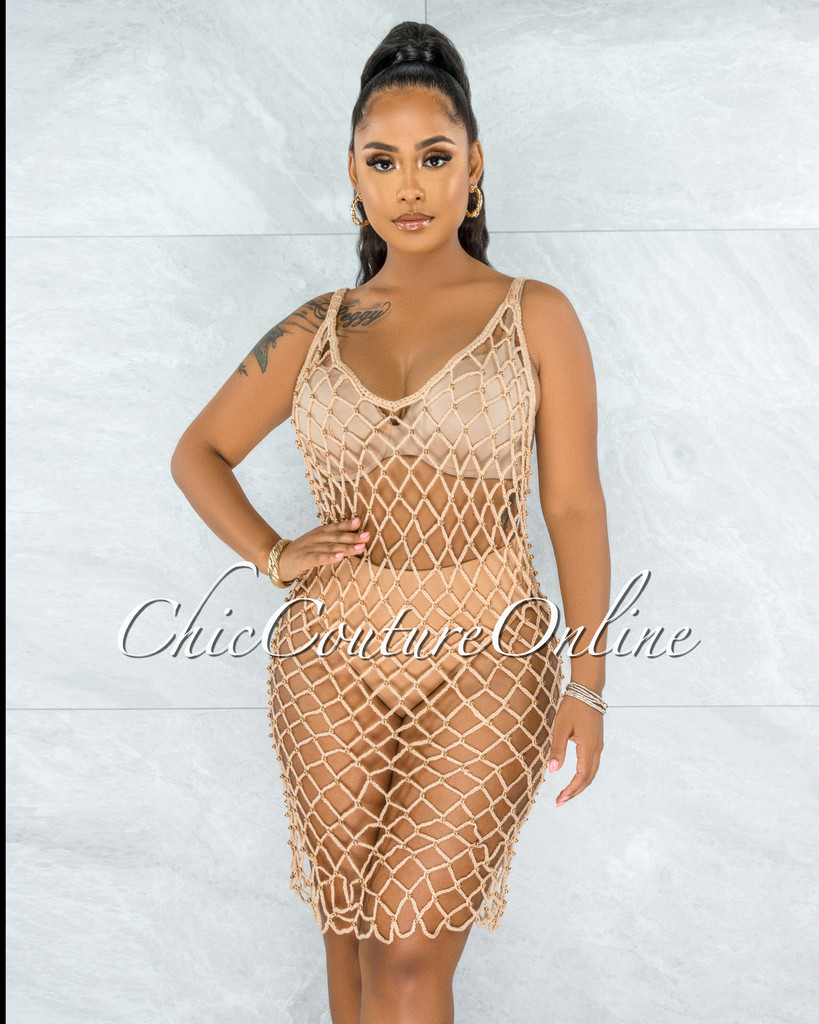 Pristina Nude Crochet Cover-Up Gold Pearls Dress