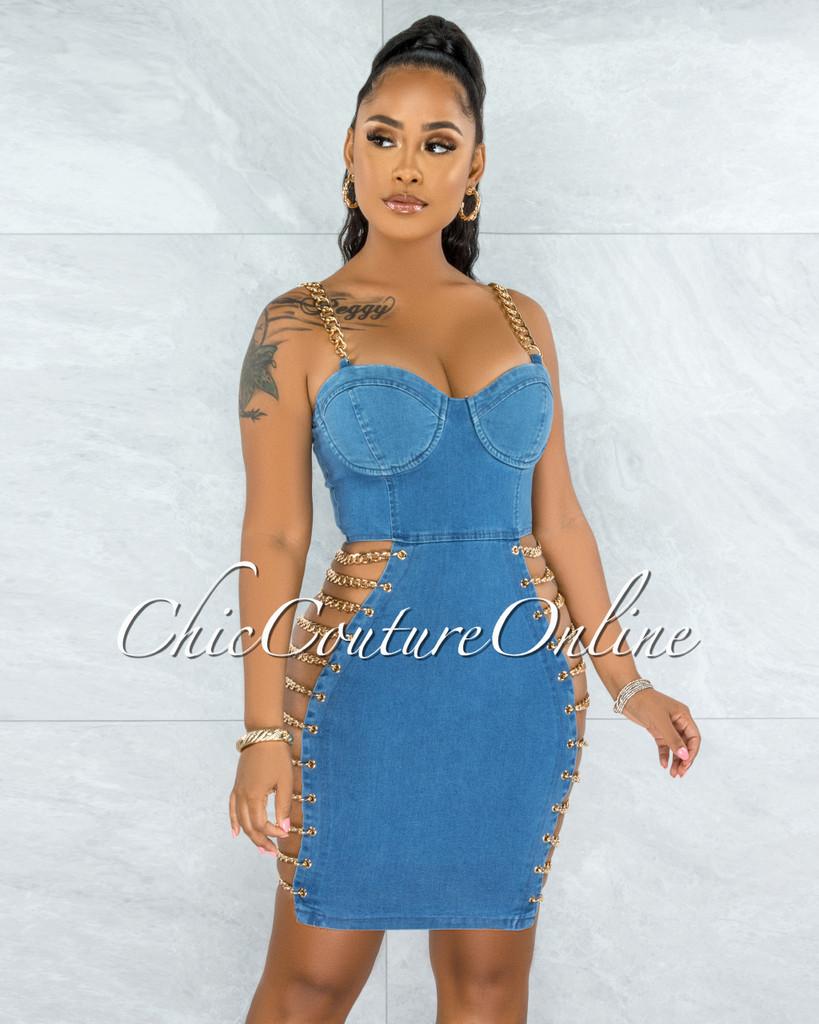Idelle Blue Denim Gold Link Lace-Up Sides Dress