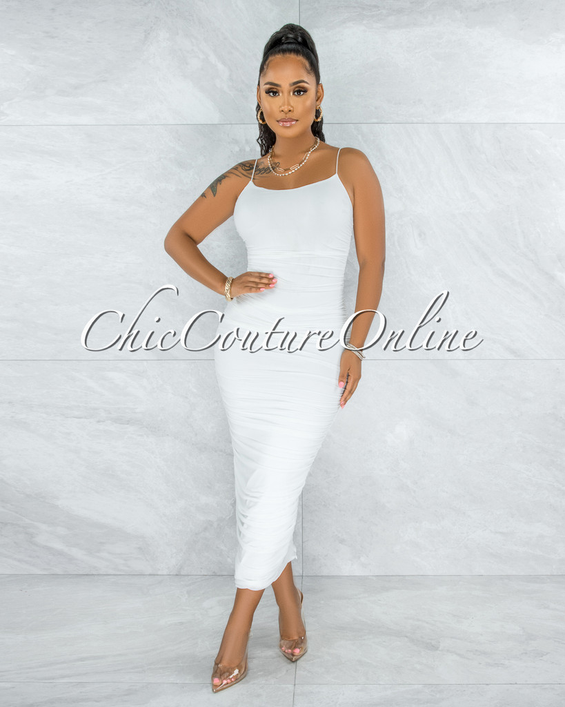 Elica Off-White Mesh Ruched Midi Dress